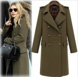2014 new arrive OL Double-breasted women's coats women's trench coats womens coats Women's Outwear woolen coat green