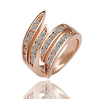 Wholesale New Korean Shiny Rose Gold Spiral Rings Set With Crystal Sizes VR
