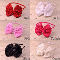 Wholesale Trial Order Satin Covered Plastic Headbands with Chiffon Rosette Hair Bows For Toddlers Kids BY QueenBaby