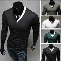 Men V_Neck British Noble Fashion NEW Mens T-shirts Men's Casual Slim v-neck Color matching Long Sleeve T-shirts Polo T-shirt T24