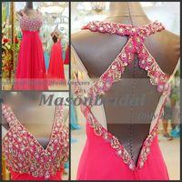 A-Line Sexy Sequins Custom Made Exquisite Sexy A-line Brush Train V-neck Handmade Peacock Rhinestone Prom Dresses 004