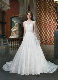 Wholesale Top Selling New Scoop lace ball gown Applique Backless Chapel Train Wedding Dresses A line Mermaid Empire Bridal dress GA978