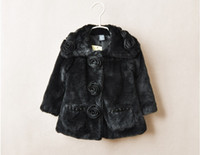 Wholesale Winter new style Girls fur Coats fair maiden buttercup long pattern Children Outerwear Baby Kids Clothing TS42