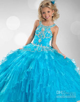 Wholesale 2013 Kids Pageant Dresses Blue Tiered Little Girl Dresses Organza Beaded Jewel Party Ball Gowns