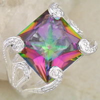 Bohemian awesome rings - Rare Oval Huge Queen Jewelry Awesome Sparking Fire Natural Mystic Topaz Silver Ring CR0093