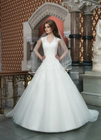 Wholesale Hottest Style V Neck lace ball gown Applique Chapel Train Wedding Dresses A line Mermaid Empire Bridal dress GA981