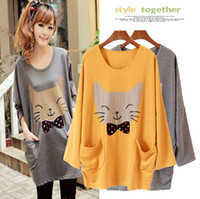 Wholesale Korean Fashion Printing Long Sleeves Loose Casual Cute Big Cat Cartoon Pullover T shirts Autumn Women Outwear Clothes