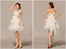 Wholesale 2013 Hot Selling Cute Lovely A LineStrapless Short Mini Zipper leats Bow Organza Homecoming Cocktail Prom Dresses with Hand Made Flower