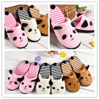 Wholesale Korean Anti slip Women Slippers Cute Panda With Tail Warm Soft Adorable Winter Home Slipper