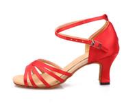 Wholesale Girls Women Adult Latin Ballroom Dance Dancing Shoes Red Black Blue Ivory Yellow Satin