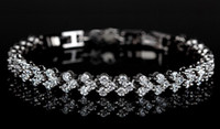 Wholesale HI Q Jewelry Lady s Silver Plated Czech Diamond Crystal Gemstone Bangle Bracelet Chain inch Length
