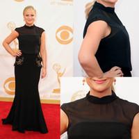 Wholesale 65th Emmy Awards Red Carpets Amy Poehler High Collar Neckline Black Chiffon Floor Length Evening Dresses