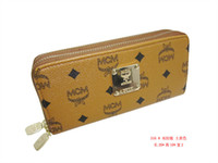 Wholesale Fashion brand money women double zipper wallet MCM clutch purses for women PU leather purse