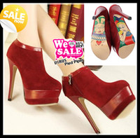 Wholesale 2013 Sexy Fashion Wine Red Cartoon Print Sole High Platform Stiletto High Heel Winter Boots Cheap Designer shoes Christmas Gift Colors