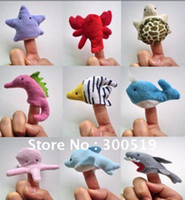 plush sea animals - T026 Cartoon different SEA Animal Finger Puppet finger doll baby dolls Animal doll bag