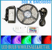 Wholesale Freeshipping M Led SMD RGB led Strip Light Flexible Waterproof key Remote V Transformer For Home Decoration