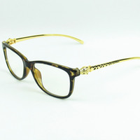 Wholesale New Arrival Fashion Glasses Frame Metal Leaopard Head Temples Designer Optical Frame Anti Radiation Lenses pc
