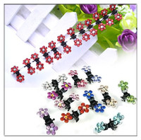 Wholesale 12pcs Set Cute Mini Crystal Rhinestone Flower Hair Clips Claws Clamps Grips