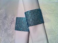 Wholesale 8 rows rhinestone diamond blue napkin ring wedding table decoration LE008BL
