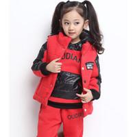 Winter track suit - Tong suit new winter thick velvet cotton three piece track suit children suit