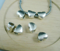 Wholesale Cheap Silver Charm Beads - Cheap Sale 50 pcs Tibetan Silver Smooth Heart Large Hole Beads Fit European Charm Bracelet 11.5 x11mm (a0017)