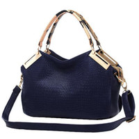 Women Plain PU HOT Crocodile Grain High-Quality Ladies shoulder bags Fashion PU Leather handbags Leisure Obique Totes Purse Color KhakiFree postage