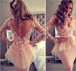 Wholesale 2015 Sexy Sheer V neck Long Sleeve Organza Sheath Appliques Lace Knee Length Sheath Party Dresses For Women Cheap Cocktail Dresses