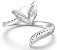 Wholesale 925 Sterling Silver Fire Fox Rings White gold Plated Wedding Love Charm Rings Freeshipping