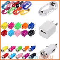 Wholesale in Micro USB Data Cable Mini Car Charger AC US Wall Charger For Samsung HTC Mobile phone with retail package