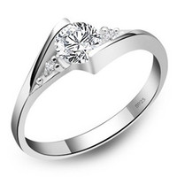 Wholesale New High Qulity Sterling Silver White gold Plated CT Swiss Diamond Rings For women freeshipping