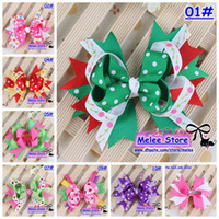 Wholesale 10Color Baby Kids Christmas Hair Clips cm Fashion Baby amp Girl Dovetail Style Multicolor Bow Hair Clip Children Ribbon Accessories