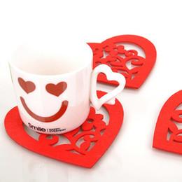12*11cm Romantic Red Heart Felt Cloth Cup Mat Cute Bowl Pad Coaster Valentine's Gift 50pcs lot SH059