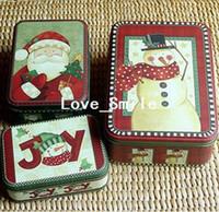 Bamboo Bedding Stocked Christmas Storage Iron Box Set 3set lot zakka Candy Contaainer Gift Case Santa deer Snowman Free shipping Wholesale