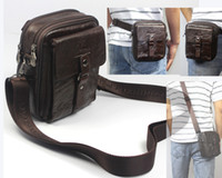 Wholesale Free ship Retail Fashion USE Men Full Grain Real Leather Genuine Fanny Waist Pack Small Shoulder Bag Messenger Bag Leisure Bag