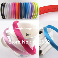 Wholesale 100pcs mm children and lady Satin Covered hairbands Headbands Satin Headbands Headwear Colors effective