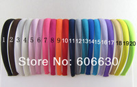 Wholesale 20pcs mm children and lady sold Satin plastic hairbands Headbands Satin Headbands Headwear Colors effective