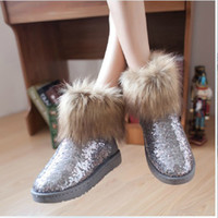 Wholesale glitter winter snow boots Copy the fox fur sequins Women s shoes flat cotton shoes heel boots short boots in winterdrop shi