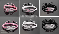 Beaded, Strands   Wholesale - low price 100pcs* Crystal Pink Ribbon Breast Cancer Awareness Bracelet Fine Gift