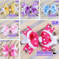 Wholesale New Color Baby Kids Christmas Hair Clips cm Fashion Baby Girl Dovetail Style Multicolor Dot Bow Hair Clip Children Ribbon Accessories
