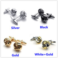 Wholesale Fashionable jewelry for men s Plated Gold Black Silver knot shaped cufflinks metal weave ball cuff links