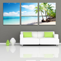 More Panel Oil Painting Abstract Framed 3 Panel Large Hawaii Seaside Canvas Painting 3 Panel Wall Art Home Decoration Palm Tree Interior Decor Picture XD01647
