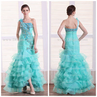 Model Pictures One-Shoulder Organza Unique Feather One Shoulder Peacock Embellished Turquoise Hi-Lo Party Gown Pageant Prom Dresses 2694