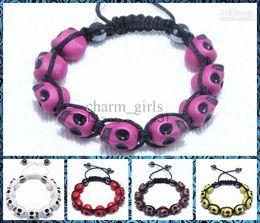 Wholesale low price punk style skull Fimo Mixed colors Shamballa Bracelet hand woven friendship bracelet