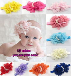 Big Discount Christmas Promotion New Rose Pearl Children hair jewelry headband,13 color choose Baby hair accessories Girls Cute Hair Ribbons