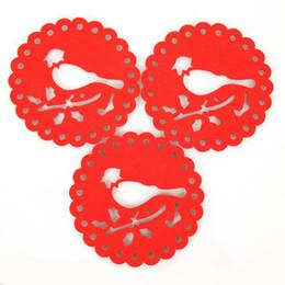 Wholesale Dia cm DIY Paper cut Bird Felt Cloth Cup Mat Table Placemat Coaster Home Decoration SH059