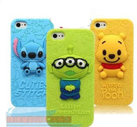 Wholesale 3D Stitch Little Green Man Winnie the Pooh Soft Silicone case for iPhone S Iphone S galaxy S3 i9300 S4 i9500 galaxy note n7100