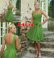Pleats Sleeveless Spaghetti Straps Custom Made 2013 Free Shipping 80% off Simple Short Bridesmaid Dresses Sweetheart Lime Green Chiffon Prom Dresses