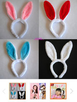 Wholesale Fashion women girl Bunny Rabbit Fluffy Ear Headbands Plush Head Band Costume Festive Party Decorative Christmas Performing props colorful
