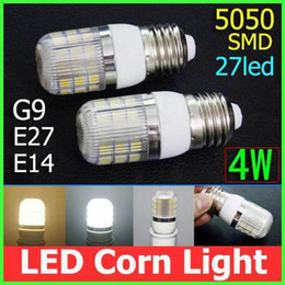 by DHL 5050 SMD LED Corn light Bulb 4W 27LEDs lighting E27 G9 E14 with Cover 360 degree 420lm led Lamp 110V 240V Warm White White light