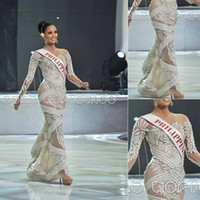 Wholesale 2013 New Hot Miss World Beauty Pageant Dresses Crew Long Sleeve Appliques Winner Megan Young Miss PhiliPPines Evening Prom Celebrity Gowns